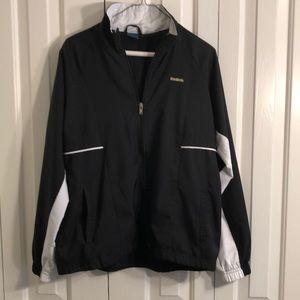 Reebok black and white nylon jacket size medium